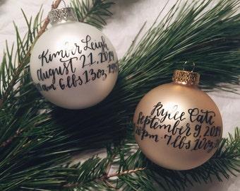 Custom Ornament - Baby's Birth Details