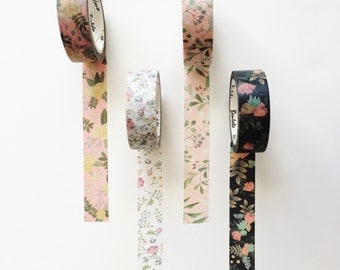 Set of 4/Floral Washi Tape/Flower Washi Tape/Floral Decorative Tape/Floral Paper Tape/Pretty Tape/Floral Scrapbooking Tape