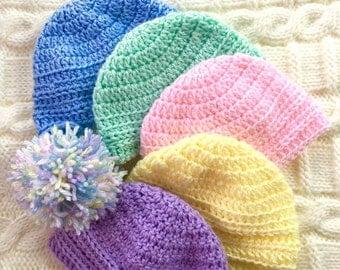 Crochet Baby Beanie 0-3 months 3-6 months 6-12 months