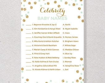 Celebrity Baby Name Game, DIY Printable Baby Shower Game, Mint and Gold Confetti Printable - SKUHDB02