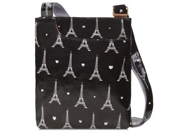 SALE! Oilcloth Crossbody bag- Paris Eiffel Tower- Ladies Purse- Ladies Handbag- Black Satchel- Oilcloth bag- Oil cloth bag- Laminated cotton