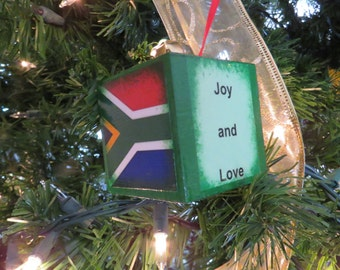 Wood block Ornament with South African Flag