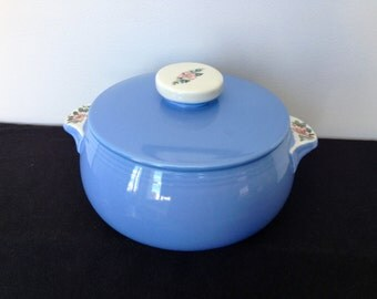 Vintage Hall Superior Quality Kitchenware Blue Casserole with Lid