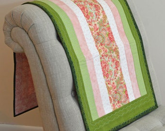 Pink and Green Table Runner Quilt