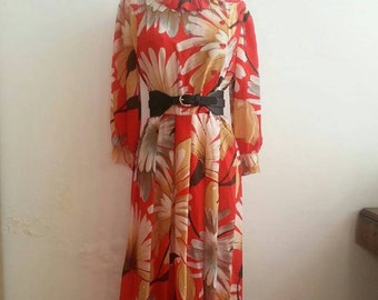 Vintage 60's Floral Dress Silk Dress Made in Italy Preppy Dress Boho Chic