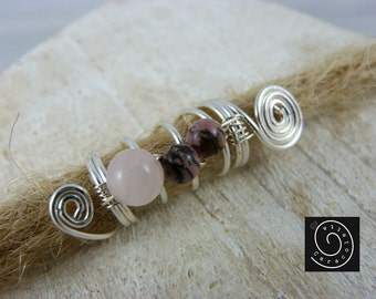 """Dread dread jewelry beads """"pink"""" Rasta swirls Rose Quartz, rhodonite"""