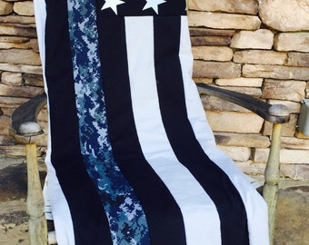 US Navy Quilt - Thin Nwu Line American Flag Quilt -Bootcamp Graduation Gift - US Navy - Deployment Gift- Navy Wife - Navy Retirement Gift