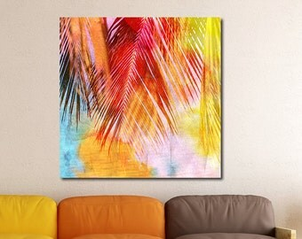 Palm Leaves, Tropical Watercolor Gallery-Wrapped Canvas