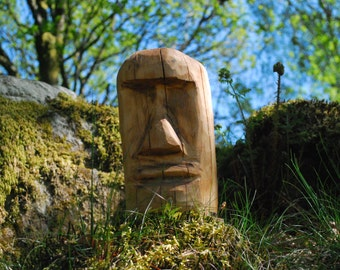 Chainsaw Carved Moai Easter Island Head
