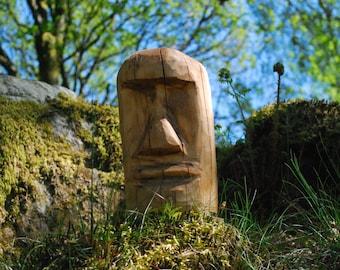Chainsaw Carved Moai Easter Island Head