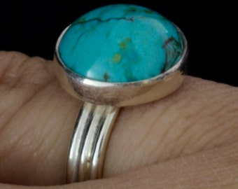 Turquoise ring sterling silver three band with bezel set turquoise
