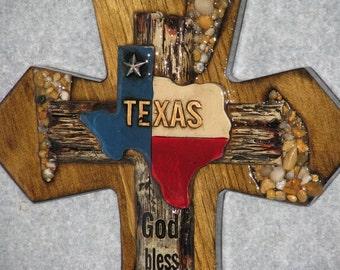 GOD BLESS TEXAS cross, decorative cross,  wooden cross, handmade cross, western cross
