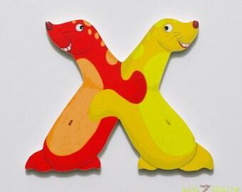 Wood alphabet letter X