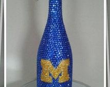 Bling Champagne Bottle, Crystallized Bottle, Rhinestone  Bottle, Michigan, Sparkly bottle