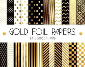Gold Foil Digital Papers, Digital Paper Pack, Scrapbooking Paper, Digital Papers, Scrapbook, Gold Foil
