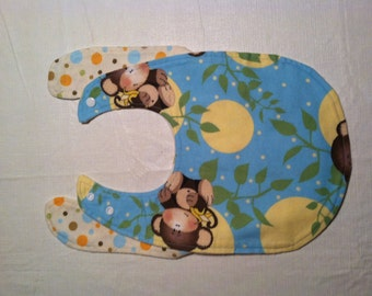 Flannel Bib with Monkeys and Moons