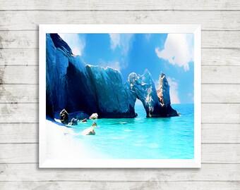 Rocky beach greek island of skiathos modern oil painting art