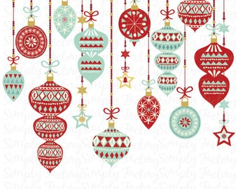 Christmas Clip Art, Vintage Ornament Christmas, Retro Vintage style, Seasons Greetings, Christmas Decoration. Instant Download Cts 003