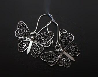 Silver - filigree earrings