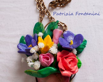 Necklace with resin flower pot VASE.  Colorful and fun