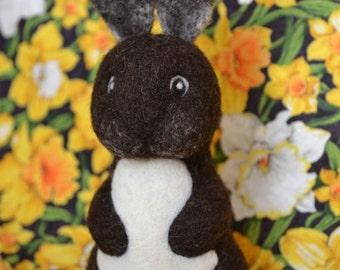 Small Needle Felted Dark Brown Bunny Rabbit OOAK