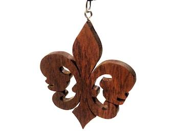 Wood Fleur de Lys Necklace