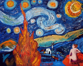 Fire on Starry Night