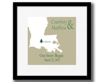 Our Story Began Personalized Custom Home State Map Quote Print Gift for Family, Friends, BFF, Engagement Map Print