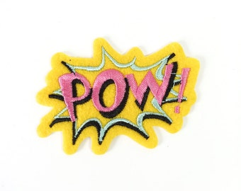 Comic book, graphic, pink, yellow, blue  Pow iron on patch, applique, badge