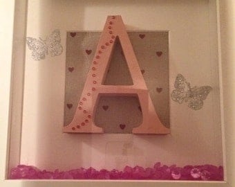 """Pink """"A"""" frame with butterflies for girls name"""