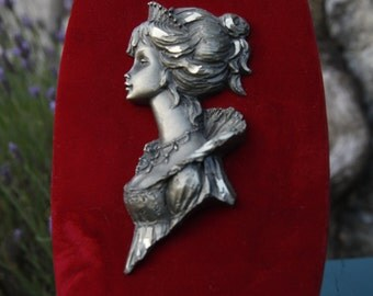 Pewter Medieval Girl  Plaque mounted on Red Velvet