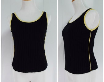 SALE! 50% OFF   Vintage Womens 1990s Black Ribbed Tank Top with Yellow Detailing   Size S/M, M