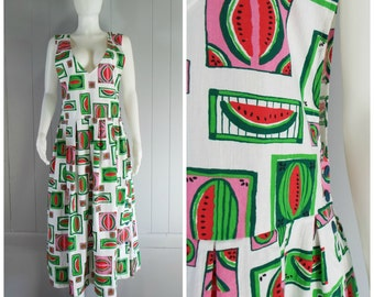 Vintage Womens Cotton Watermelon Print Pinafore Jumper Dress | Size M/L, L