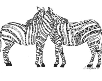 Hand-drawn zentangle zebras hugging