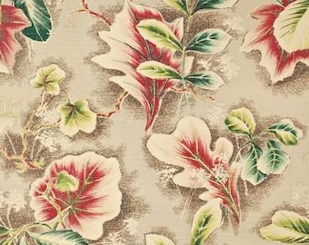 "Vintage 1940's/50's Barkcloth Curtain Fabric / 70"" x 39"" / Tropical Flowers Print / Retro Collectable Rare"