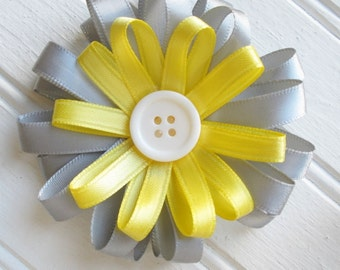 Yellow and Gray Loopy Flower Hair Clip -- Girls Hair Accessory Hair Bow