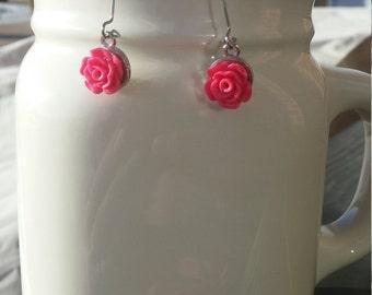 Pink Rose Silver Earrings