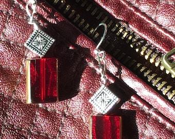 Crimson compliments geo earrings