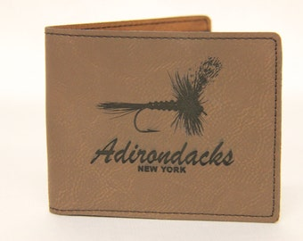Fly Fishing Wallet, Adirondacks Wallet, Adirondacks New York, Flyfishing Wallet, fish wallet, leather wallet, Trout Fishing, Gift for dad