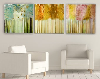 Lakeside - Morning Light - Soft Orchid by Susan Jill 3 Piece Painting Print on Wrapped Canvas Set of 3