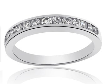14K White Gold Round Brilliant Cut Diamond Wedding Ring 0.55ctw