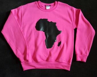 Hot pink Africa Silhouette crew neck sweatshirt