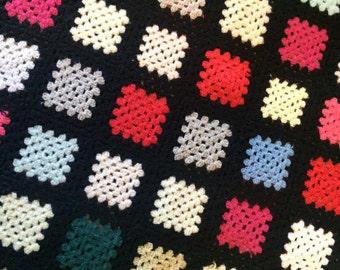 Vintage solid granny square blanket.