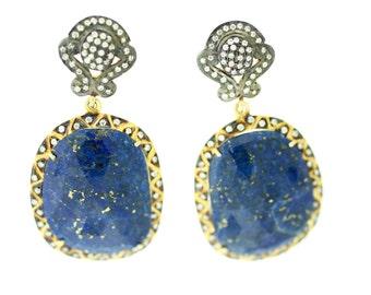 Lapis Earrings--Lapis Hanging Earrings--Lapis Drop Earrings--Blue Lapis Earrings
