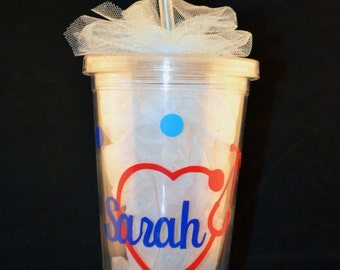 Nurse Doctor Medical Personalized Tumbler Cup with Lid and Straw