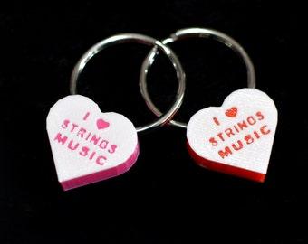 I Love Strings Music key ring