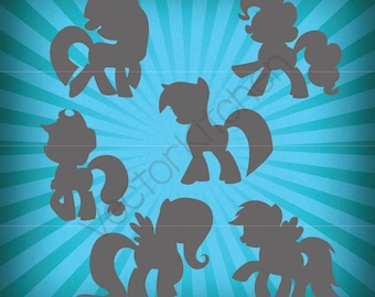 My Little Pony Silhouettes Inspired Cutting Template SVG EPS Silhouette Cricut Sure Cuts A Lot DIY Cricut Vector Instant Download