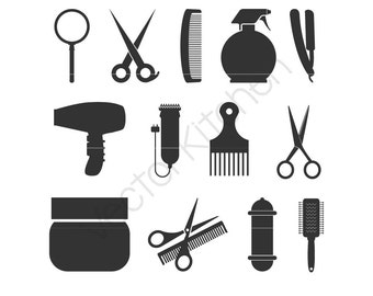 Hair Stylist, Barber, 13 Deisgns, Cutting Template SVG EPS Silhouette Cricut Sure Cuts A Lot Cricut Vector Instant Download, Clippers Shears