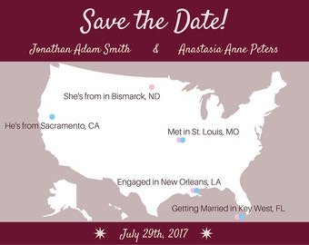 US Map Save the Date Card