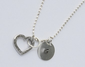 Silver Stamped Initial And Open Heart Necklace